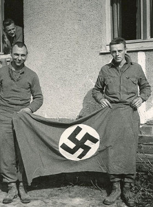 Nazi flag captured by 97th Infantry (Del not in photo)