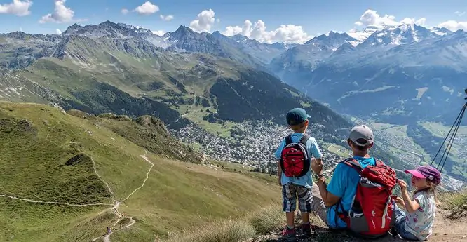 Three children on a mountain
