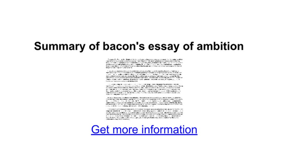 summary of bacon s essay of ambition google docs