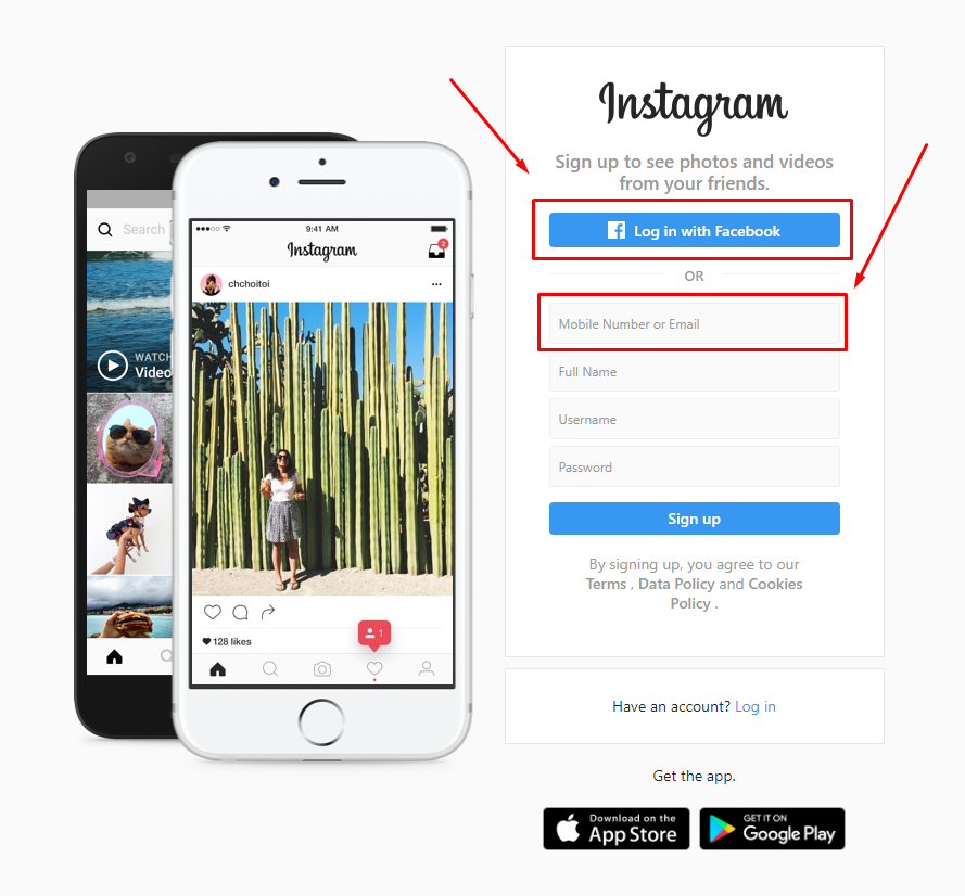 about Instagram homepage with white and black smartphone next to log-in fields.