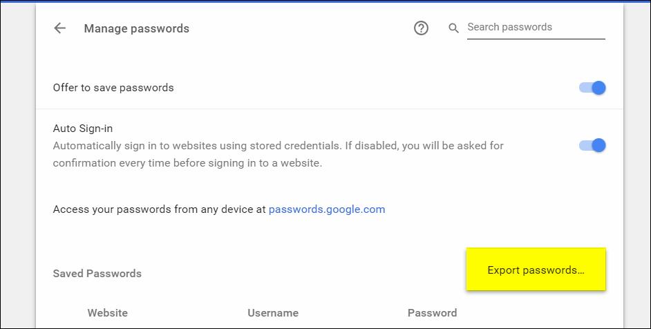 كلمات السر المحفوظة في جوجل كروم ١