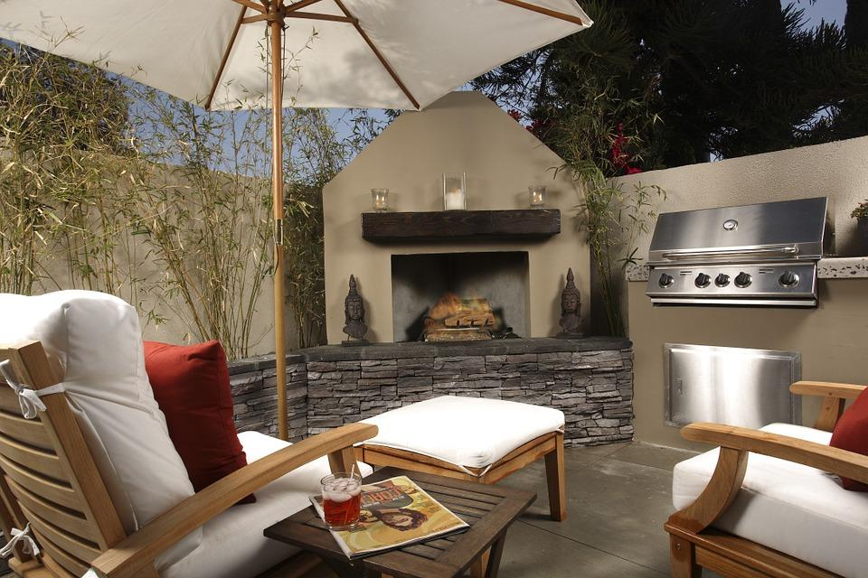 nice outside backyard with fireplace