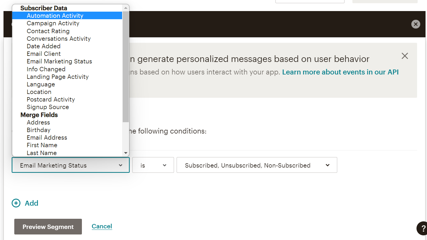 mailchimp contact segmentation