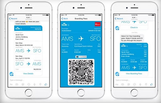 KLM's chatbot offers support in five service channels, including Facebook Messenger.