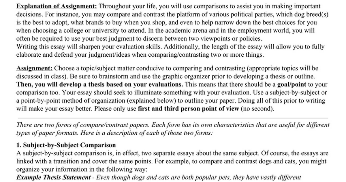 writing compare contrast essay google docs