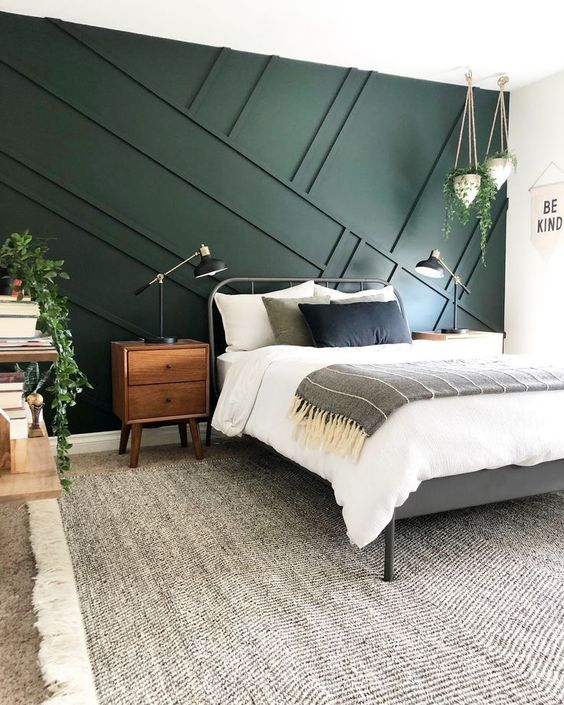 A Hunter Green Bedroom with Board and Batten