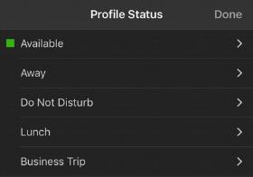 """Menú de Opciones """"Establecer Estado"""" en la app iOS de 3CX"""