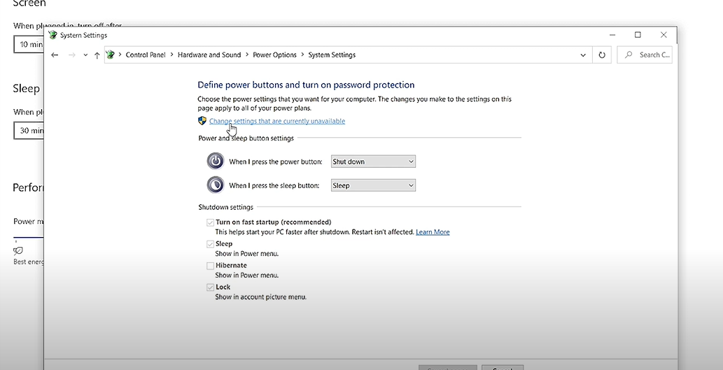 """click on """"Change Settings that are currently unavailable"""" to make the Shutdown settings clickable."""