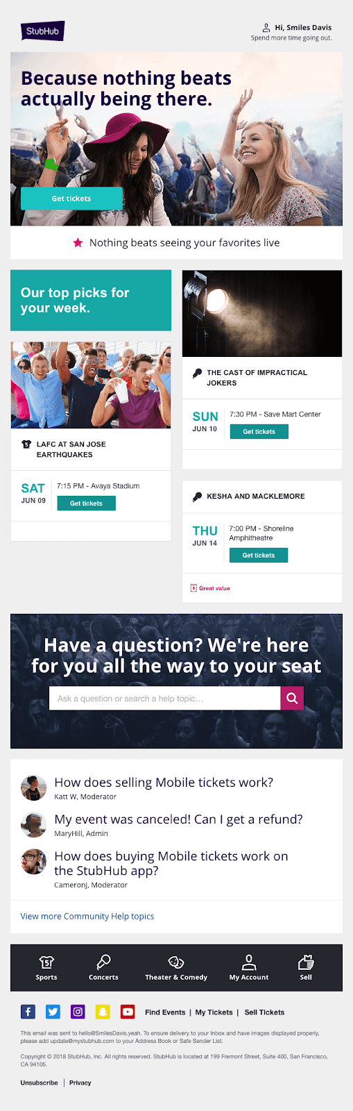 StubHub knows what users like and brings it to them