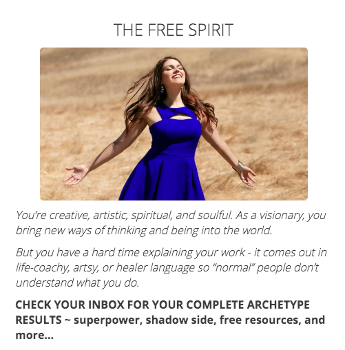 Free Spirit quiz results
