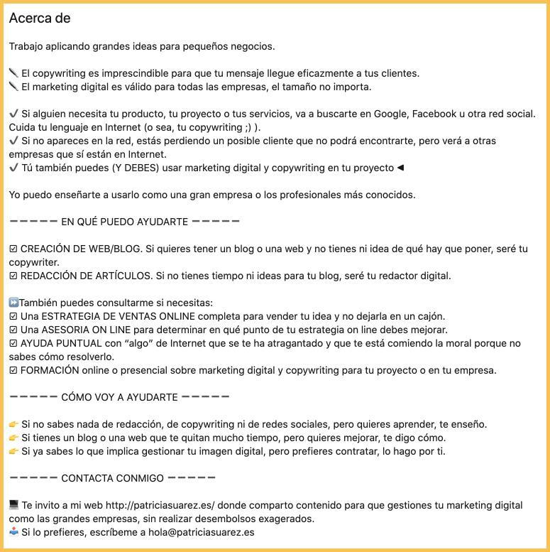 extracto con copywriting para LinkedIn