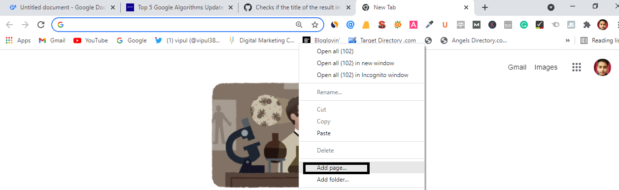 This image show how you can add a bookmark page in your tab