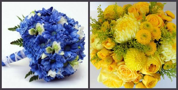 Букеты невесты с хризантемами