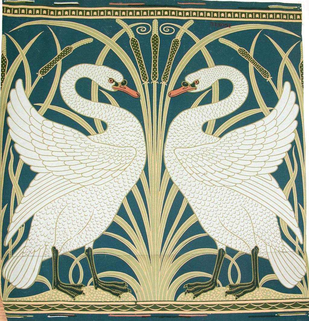 'Swan, rush and iris' wallpaper sample designed by Walter Crane