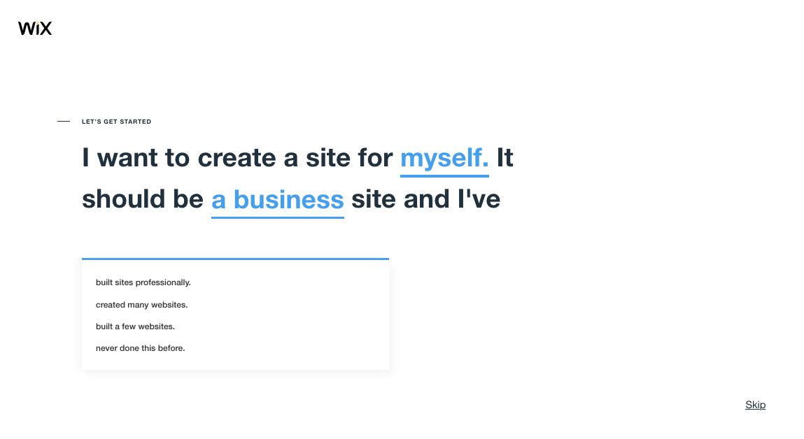 screenshot wix website