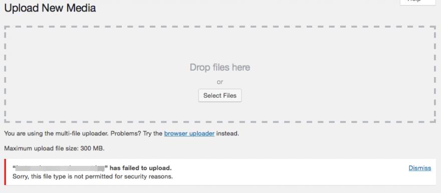 """El error """"Lo sentimos, este tipo de archivo no está permitido por razones de seguridad"""" en WordPress."""