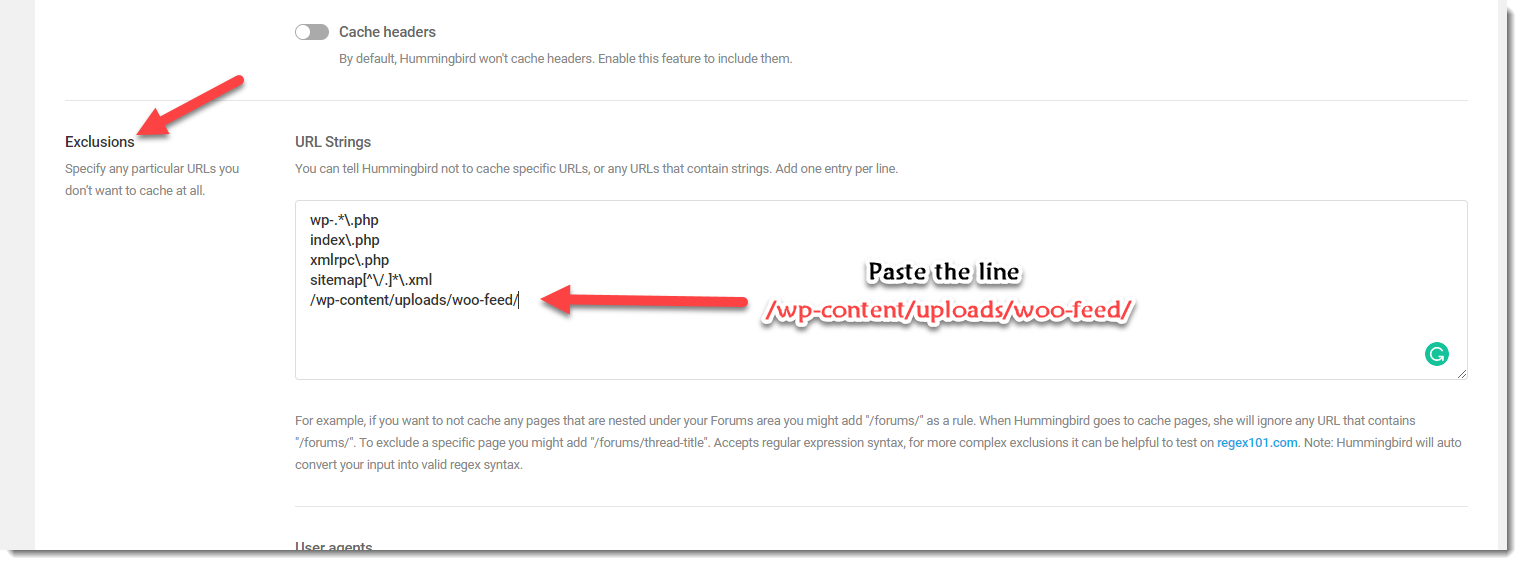 exclude feed file from Hummingbird cache step 2