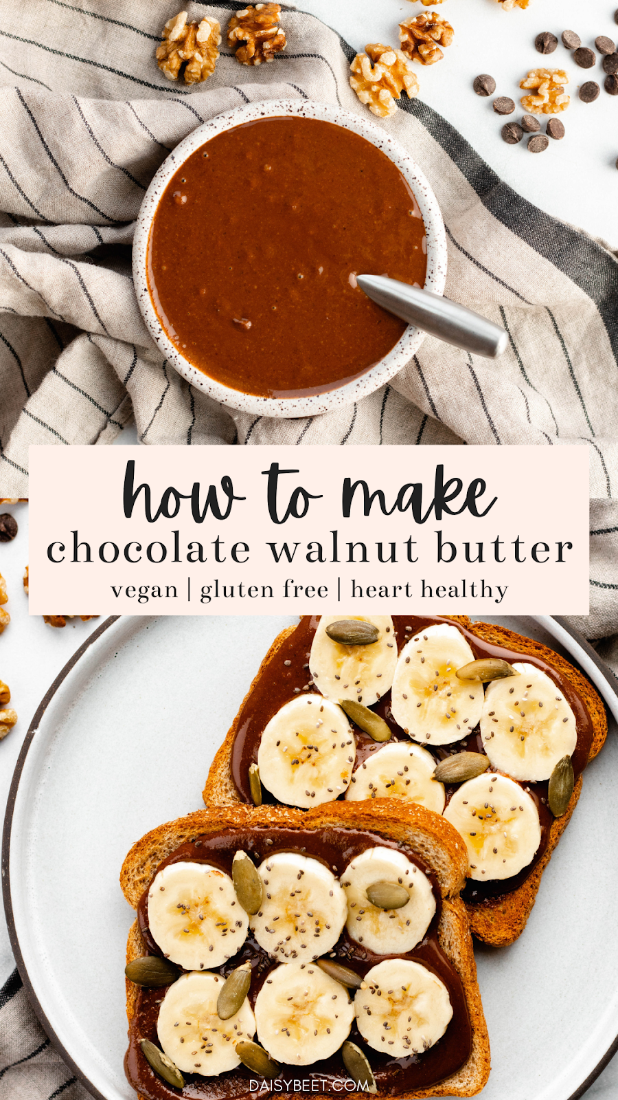 How to Make Chocolate Walnut Butter | Daisybeet, MS, RD