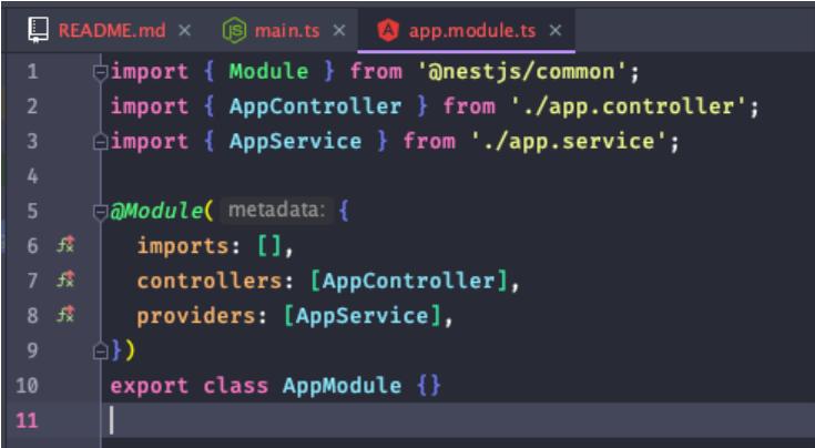 arquivo app.module.ts do NestJS