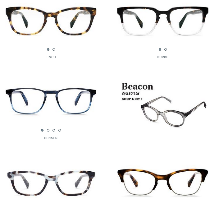 warby parker category page