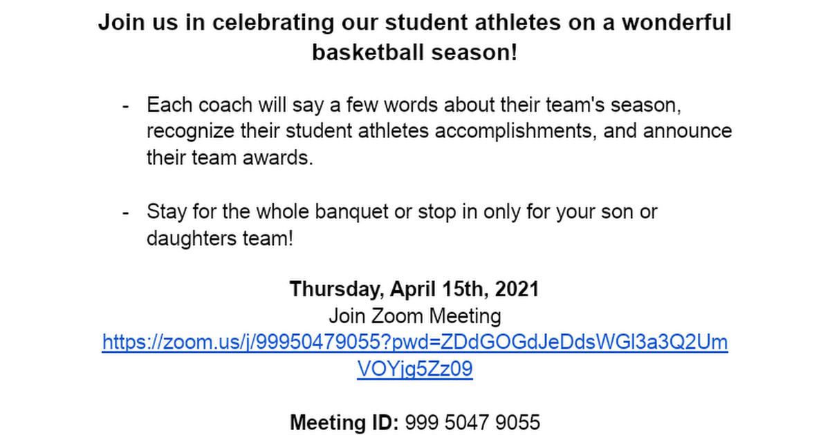 Tonawanda Virtual Basketball Banquet (Date, Times, Login Information)