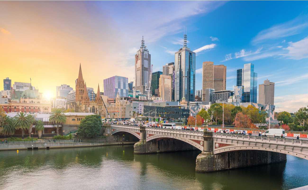 Melbourne city skylines during sunrise