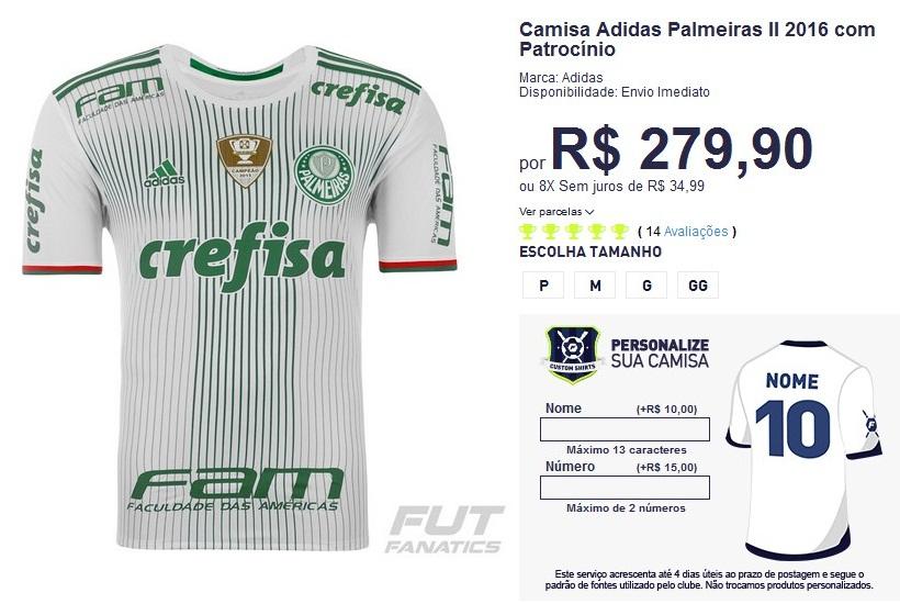 Camisa Adidas Palmeiras II 2016 com Patrocínio