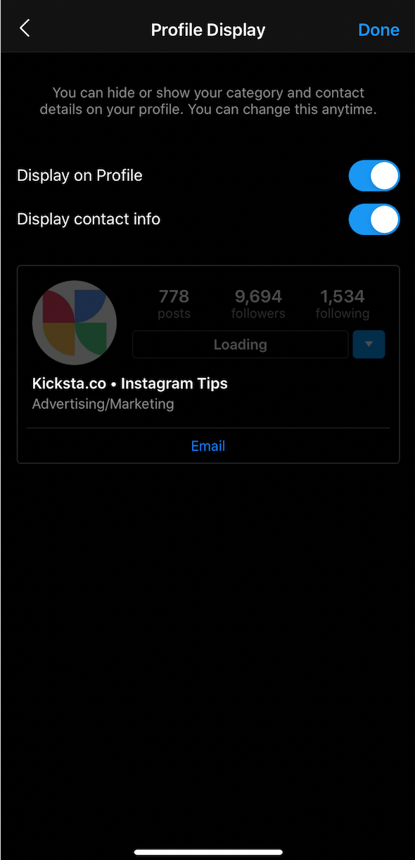 how to display contact information on Instagram
