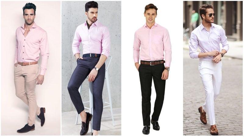 Áo sơ mi màu hồng nhạt tạo nên phong cách đa dạng, ngọt ngào, quyến rũ đầy nam tính cho phái mạnh