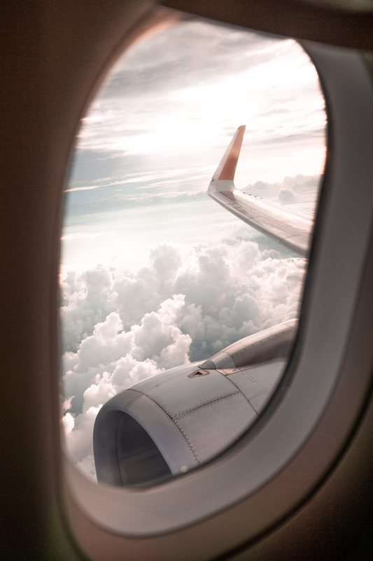 Looking out an airplane window