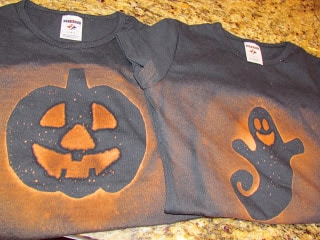 family Halloween activities - tee shirt making