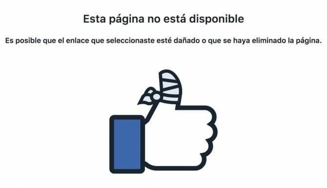 Ejemplo de error 404: Facebook