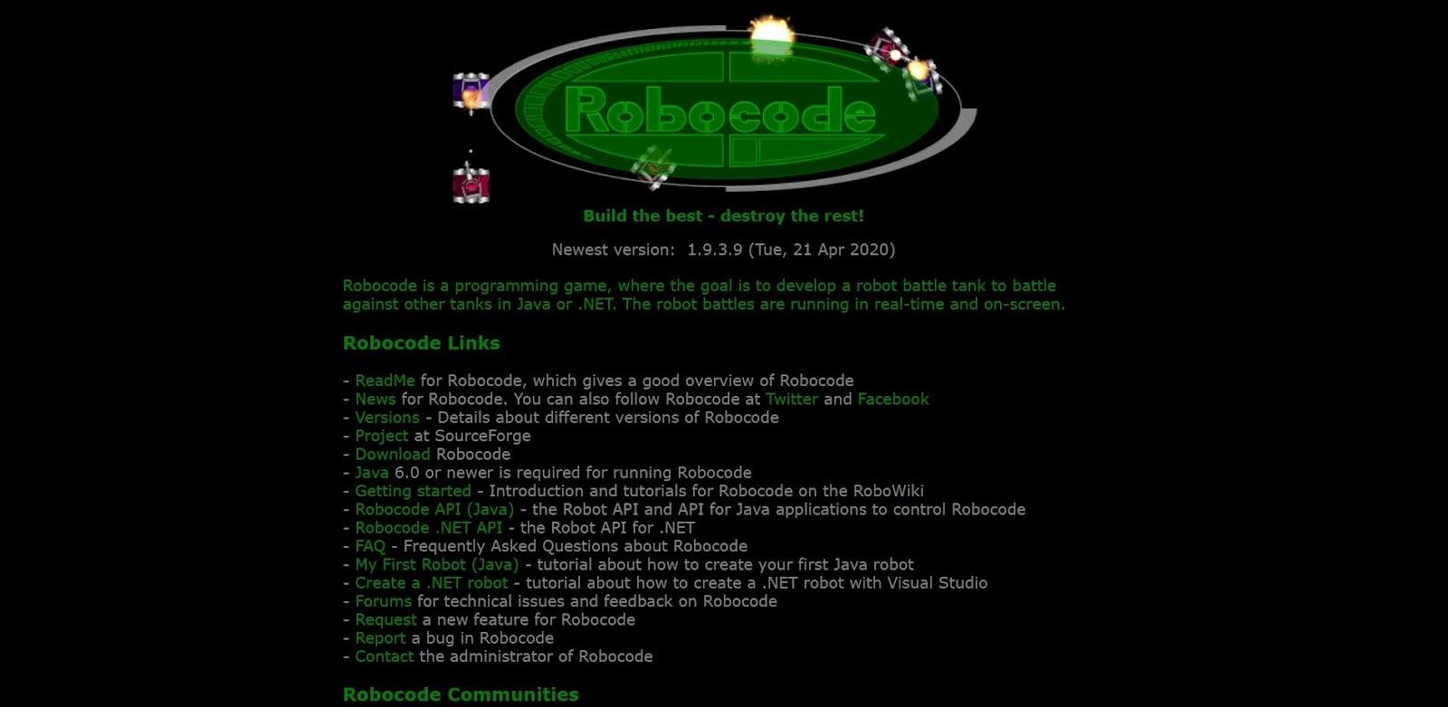 Скриншот онлайн-игры для программистов Robocode