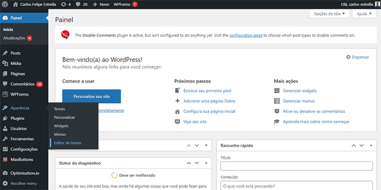 editor de temas do wordpress
