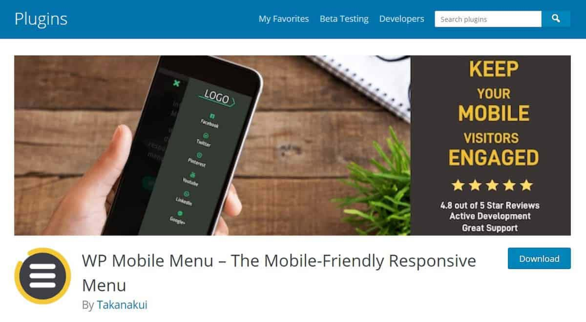 Page de download do plugin WP Mobile Menu - The Mobile-Friendly Responsive Menu