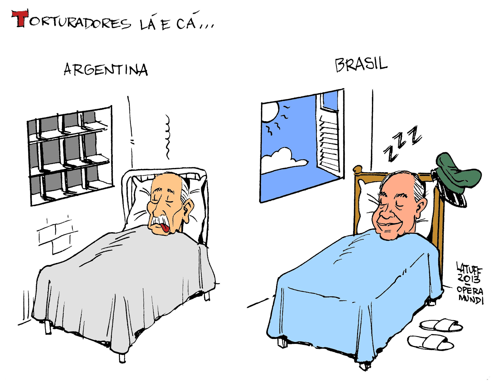 Charge de Latuff comparando as ditaduras da Argentina e do Brasil.