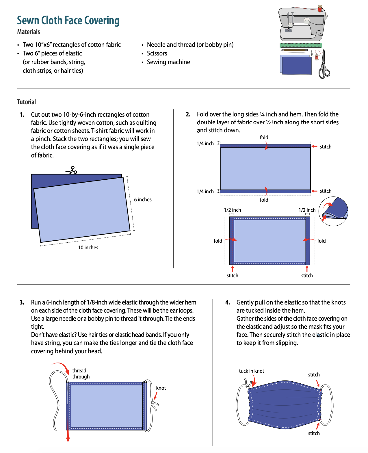 How to make a sewn cloth face covering materials and tutorial. Provided by the CDC.