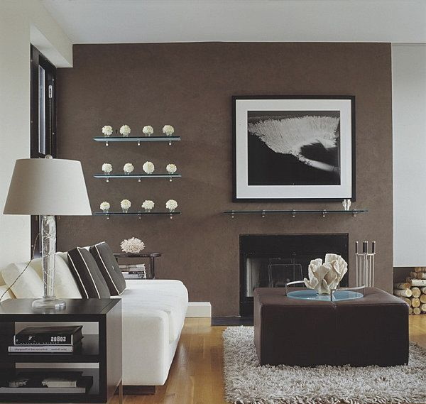 Brown accent wall color.