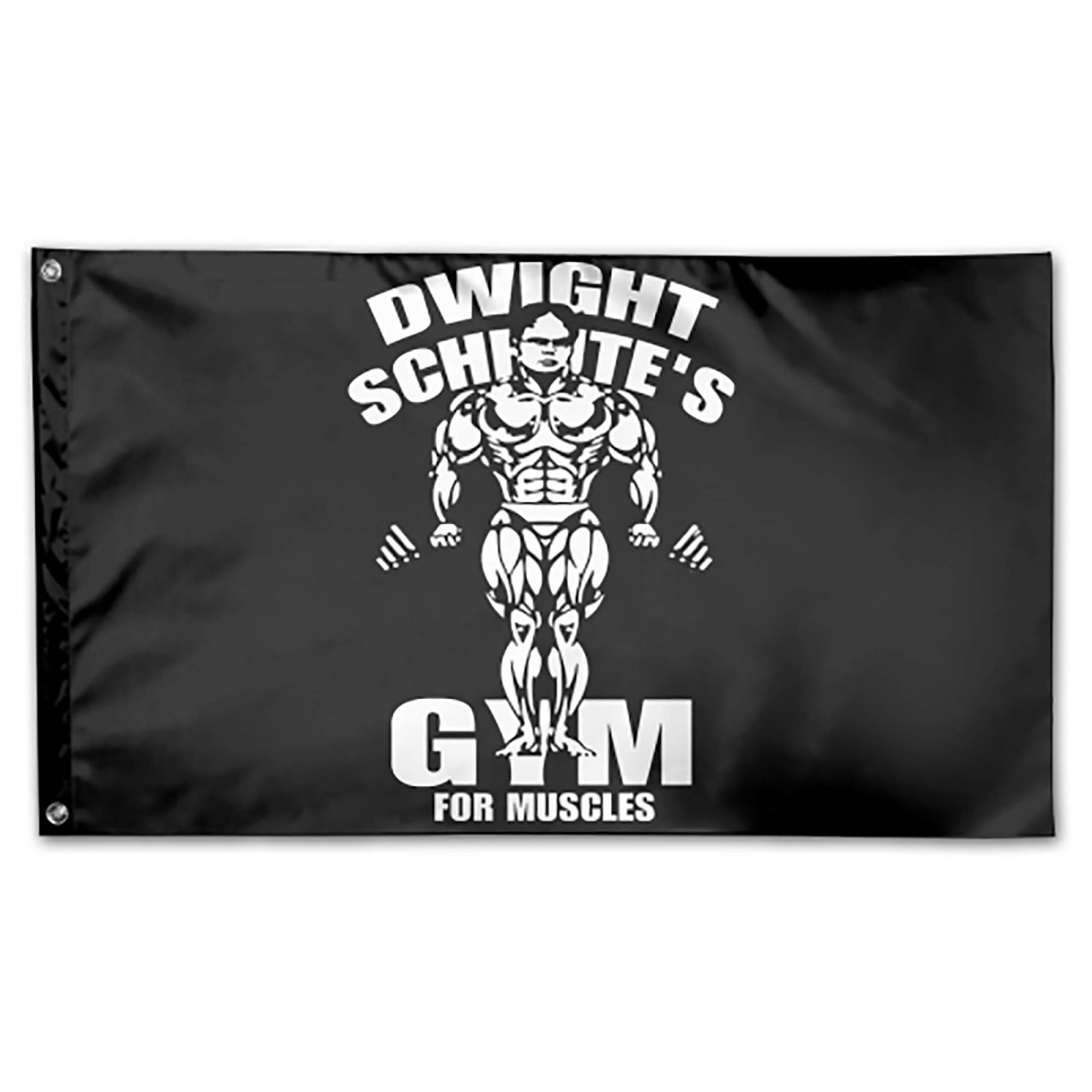 Dwight Schrute Gym for Muscles flag which available in various color schemes and can also be use as a banner