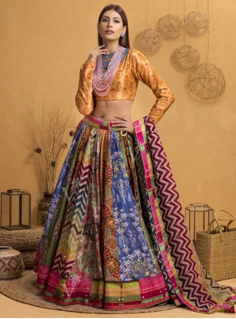 Multi-color Silk Lehenga Set