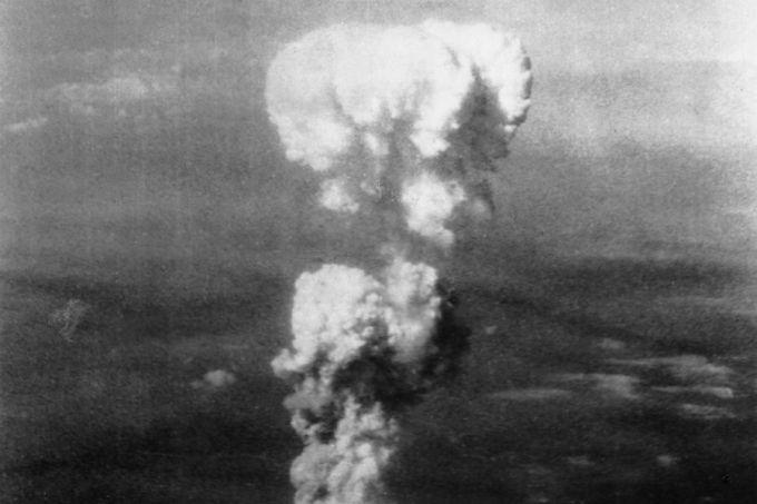 The atomic cloud over Hiroshima, Aug. 6, 1945. Credit: Bernard Waldman. Public domain via US government.