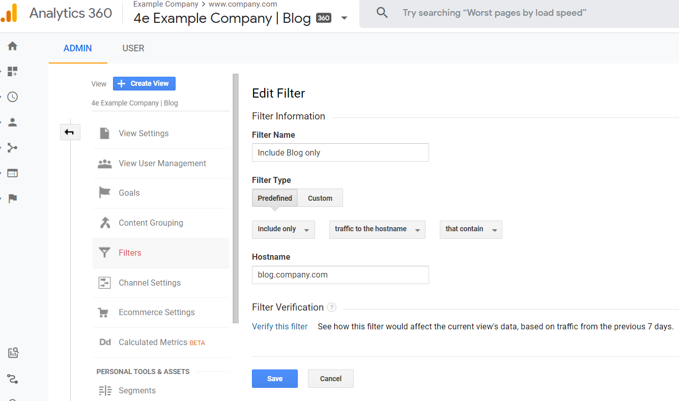 setting up a hostname filter in google analytics.