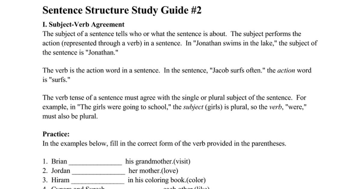 Sentence Structure Study Guide #2 - Google Docs