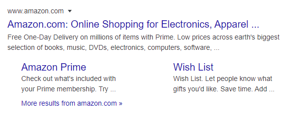 Amazon's homepage site is shown, following two other sites within it, Amazon Prime and Wish List. [How to Get Sitelinks in Google Search Results]