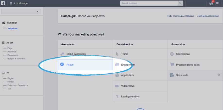 Creating FB Ads campaign with the objective to reach photographers.