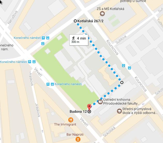Seminární místnost ÚK PřF - přízemí knihovny