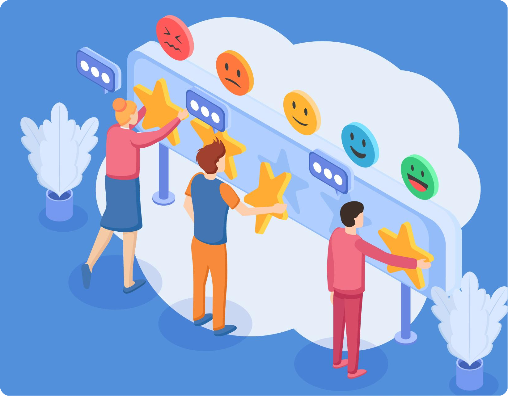 Stylized image of people rating a Shopify store on a billboard
