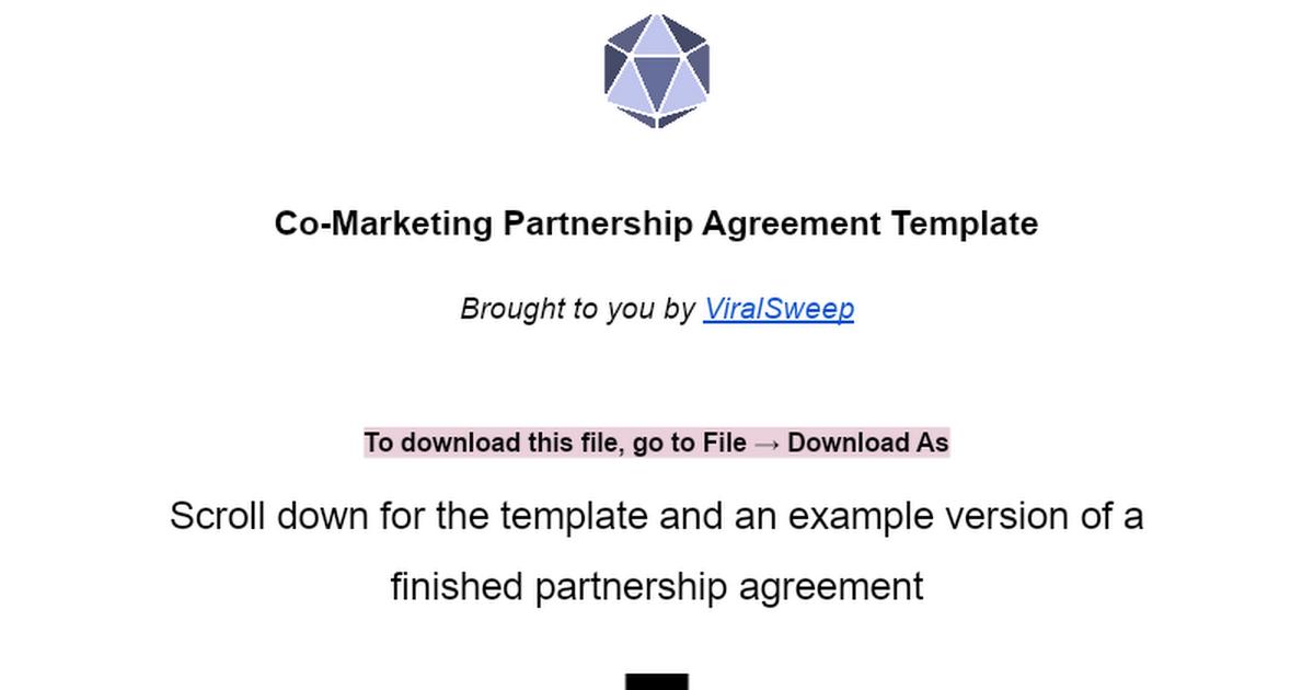 Co Marketing Partnership Agreement Template Google Docs