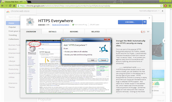 Add HTTPS Everywhere to Chrome
