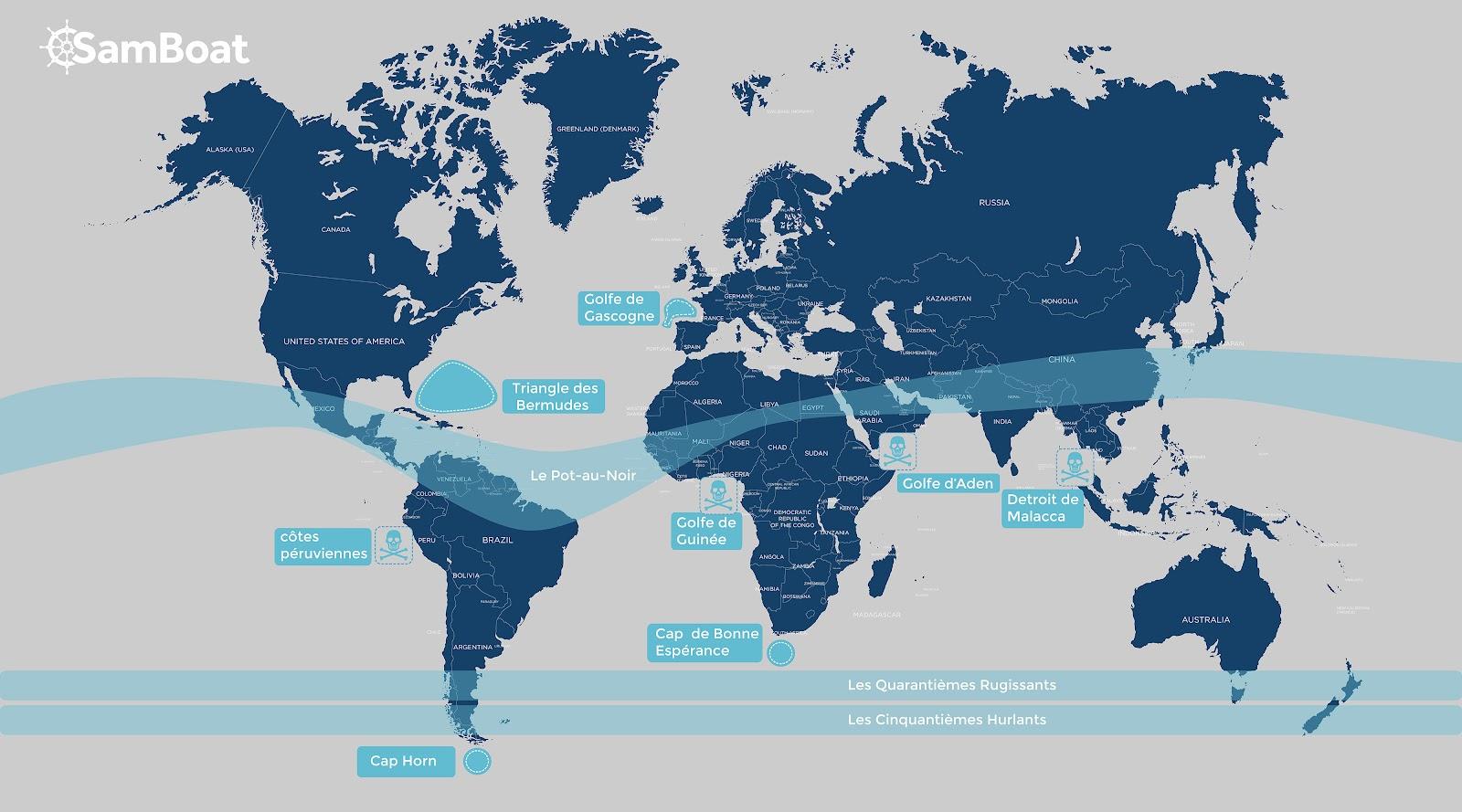 zones les plus dangereuses à la navigation dans le monde